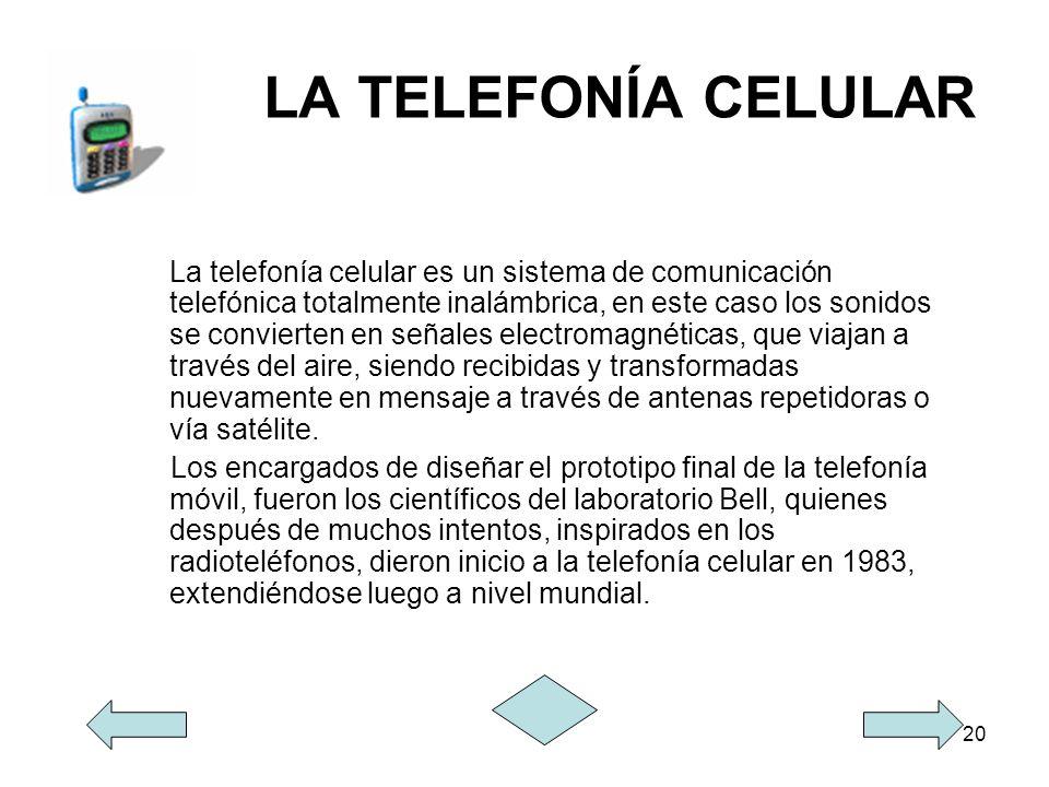 20 LA TELEFONÍA CELULAR La telefonía celular es un sistema de comunicación telefónica totalmente inalámbrica, en este caso los sonidos se convierten e