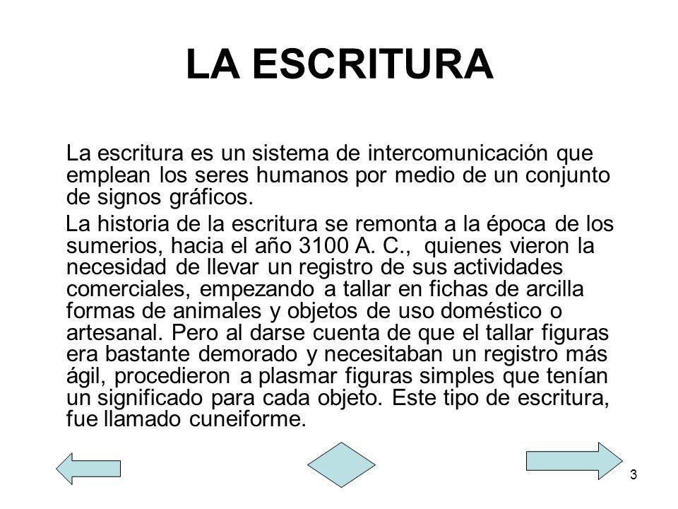 3 LA ESCRITURA La escritura es un sistema de intercomunicación que emplean los seres humanos por medio de un conjunto de signos gráficos. La historia