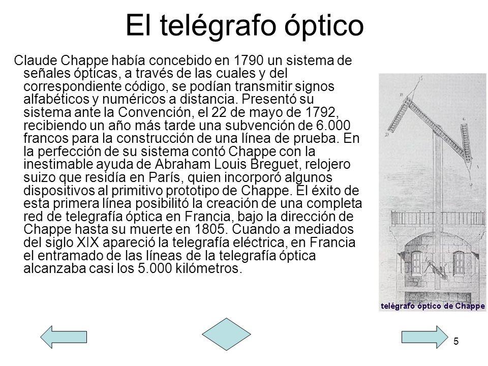5 El telégrafo óptico Claude Chappe había concebido en 1790 un sistema de señales ópticas, a través de las cuales y del correspondiente código, se pod