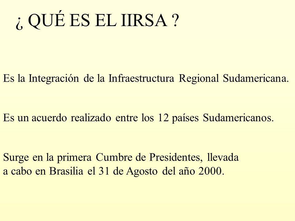 ¿ QUÉ ES EL IIRSA ? Es la Integración de la Infraestructura Regional Sudamericana. Surge en la primera Cumbre de Presidentes, llevada a cabo en Brasil