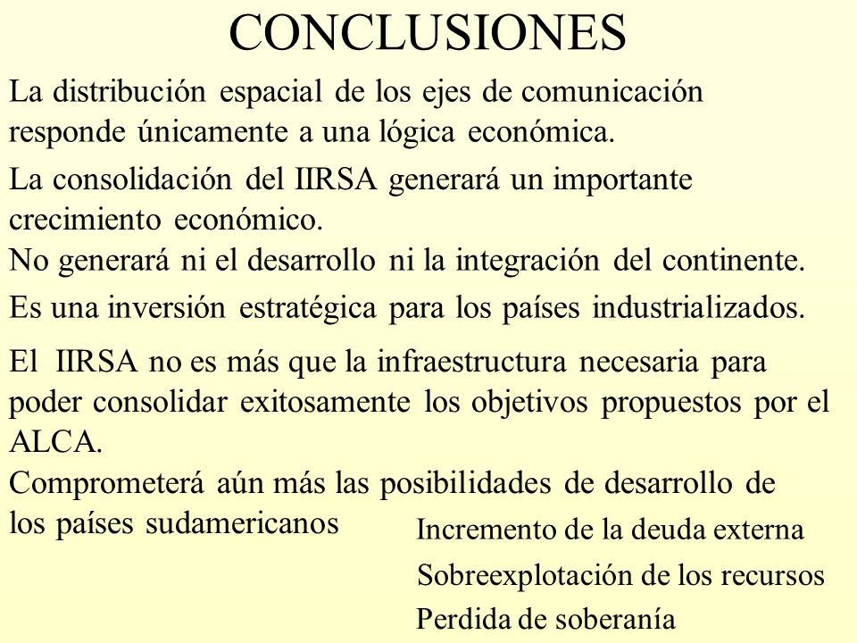 CONCLUSIONES La consolidación del IIRSA generará un importante crecimiento económico. La distribución espacial de los ejes de comunicación responde ún