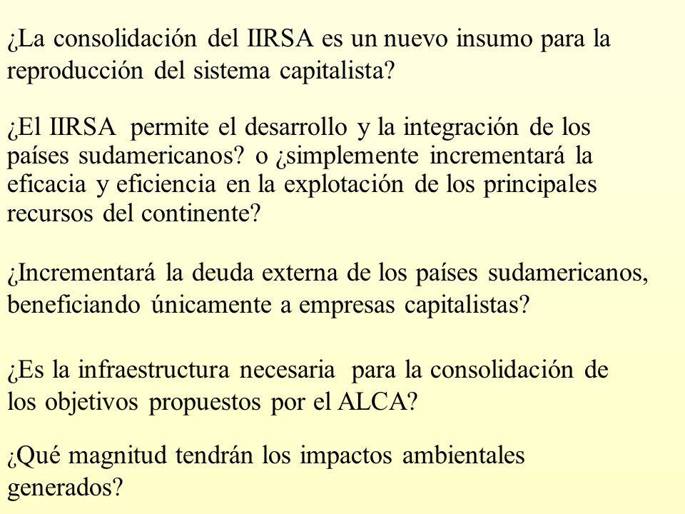 ¿Es la infraestructura necesaria para la consolidación de los objetivos propuestos por el ALCA? ¿Incrementará la deuda externa de los países sudameric