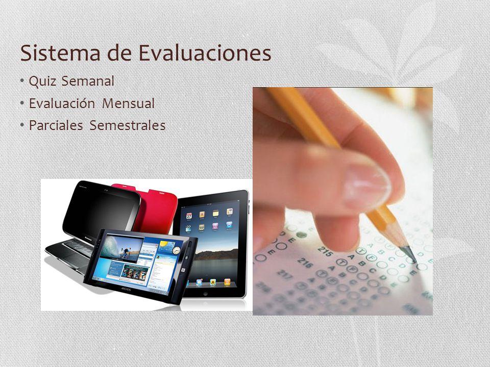 Sistema de Evaluaciones Quiz Semanal Evaluación Mensual Parciales Semestrales