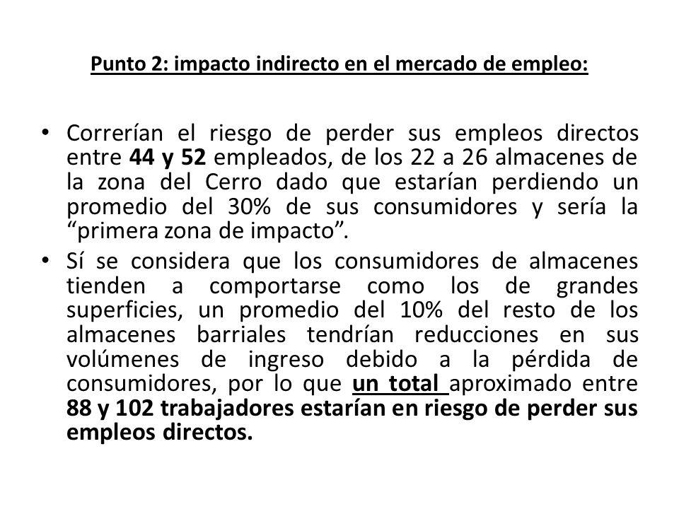Punto 2: impacto indirecto en el mercado de empleo: Correrían el riesgo de perder sus empleos directos entre 44 y 52 empleados, de los 22 a 26 almacen