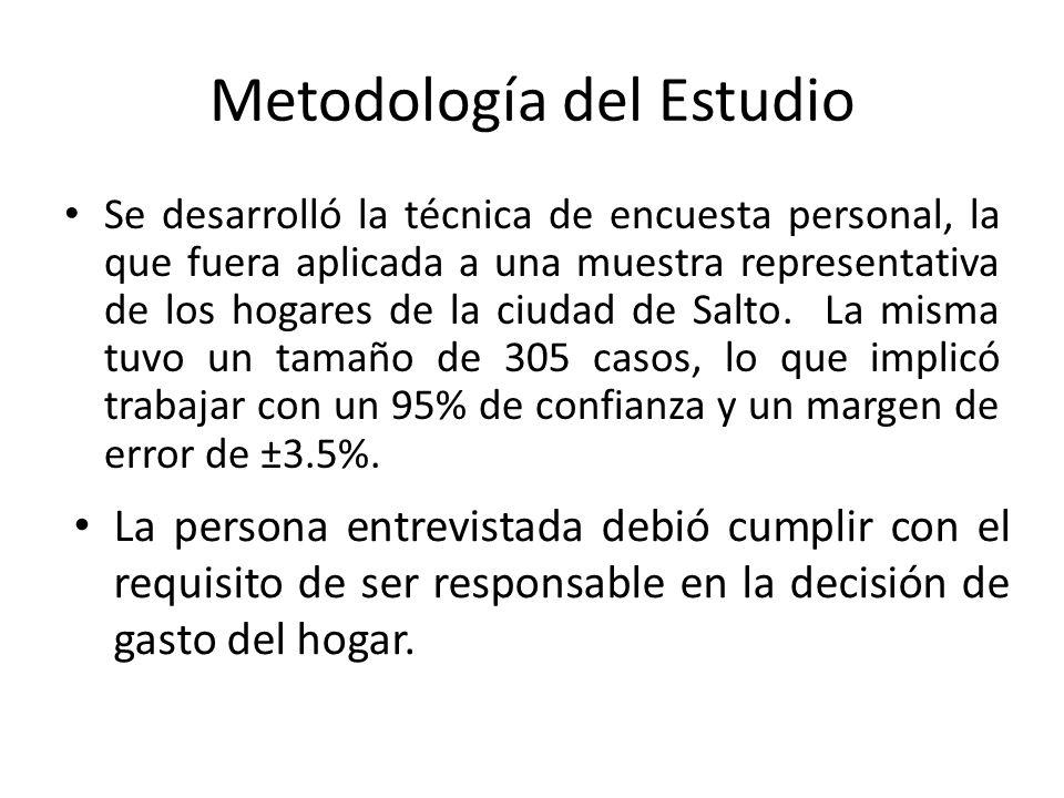 Metodología del Estudio Se desarrolló la técnica de encuesta personal, la que fuera aplicada a una muestra representativa de los hogares de la ciudad