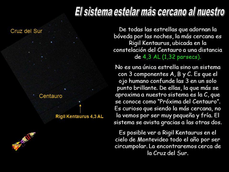 Rigil Kentaurus 4,3 AL Cruz del Sur Centauro De todas las estrellas que adornan la bóveda por las noches, la más cercana es Rigil Kentaurus, ubicada e