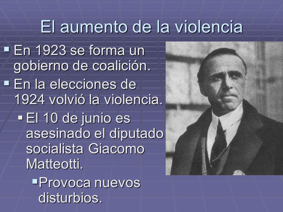 El aumento de la violencia En 1923 se forma un gobierno de coalición. En 1923 se forma un gobierno de coalición. En la elecciones de 1924 volvió la vi