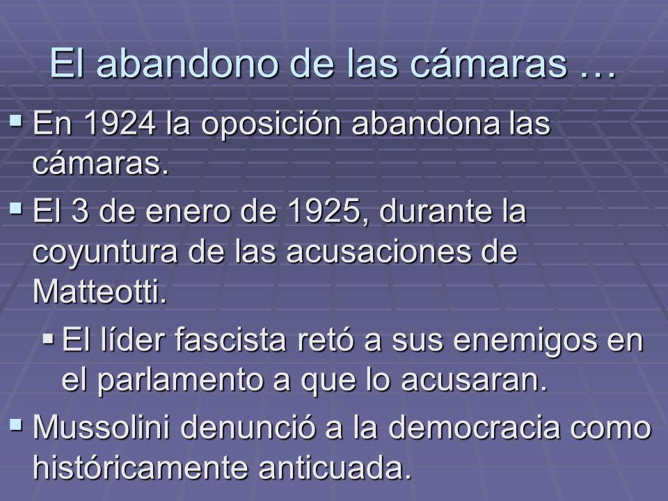 El abandono de las cámaras … En 1924 la oposición abandona las cámaras. En 1924 la oposición abandona las cámaras. El 3 de enero de 1925, durante la c