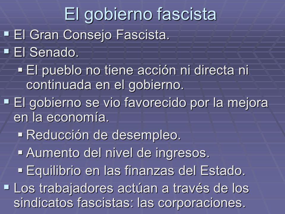 El gobierno fascista El Gran Consejo Fascista. El Gran Consejo Fascista. El Senado. El Senado. El pueblo no tiene acción ni directa ni continuada en e