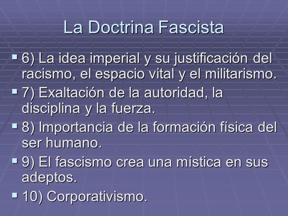 La Doctrina Fascista 6) La idea imperial y su justificación del racismo, el espacio vital y el militarismo. 6) La idea imperial y su justificación del