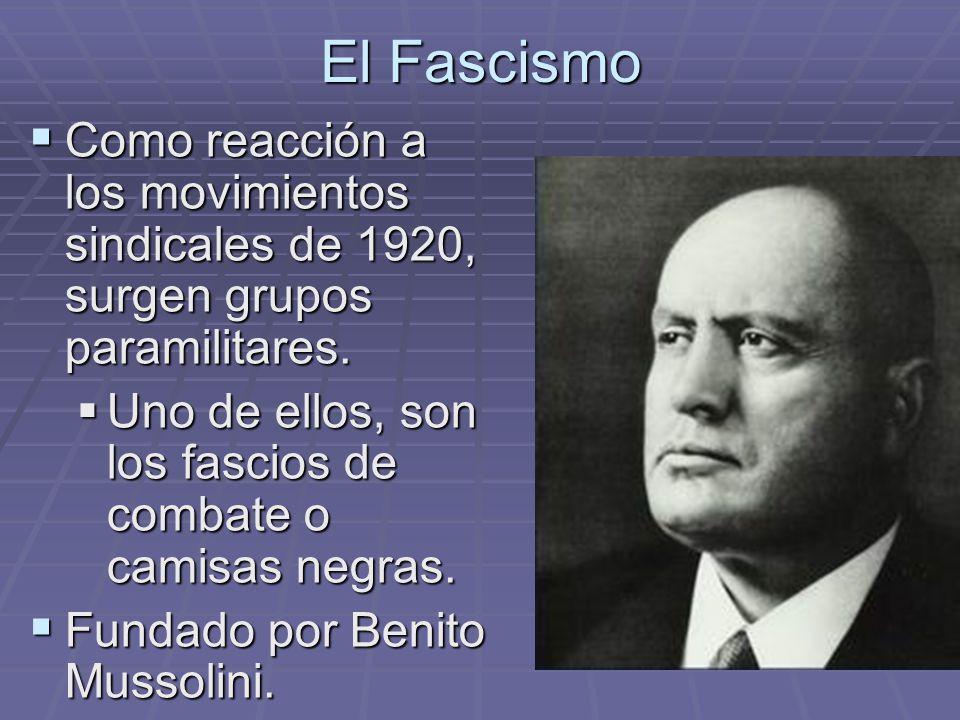 El Fascismo Como reacción a los movimientos sindicales de 1920, surgen grupos paramilitares. Como reacción a los movimientos sindicales de 1920, surge