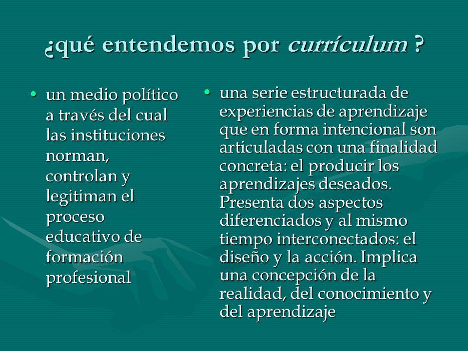 ¿qué entendemos por currículum ? un medio político a través del cual las instituciones norman, controlan y legitiman el proceso educativo de formación