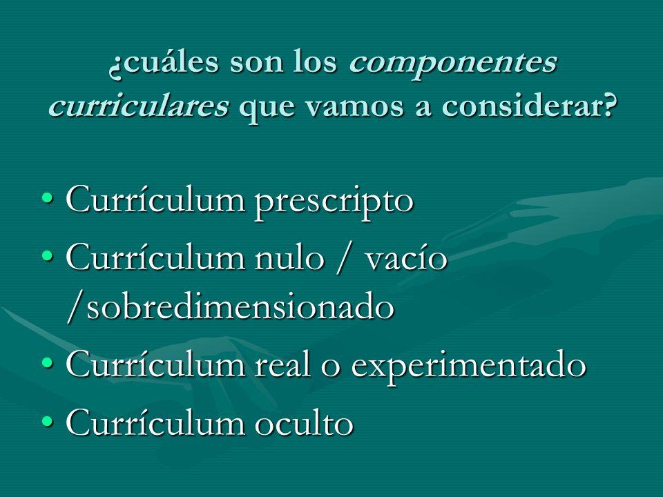¿cuáles son los componentes curriculares que vamos a considerar? Currículum prescriptoCurrículum prescripto Currículum nulo / vacío /sobredimensionado