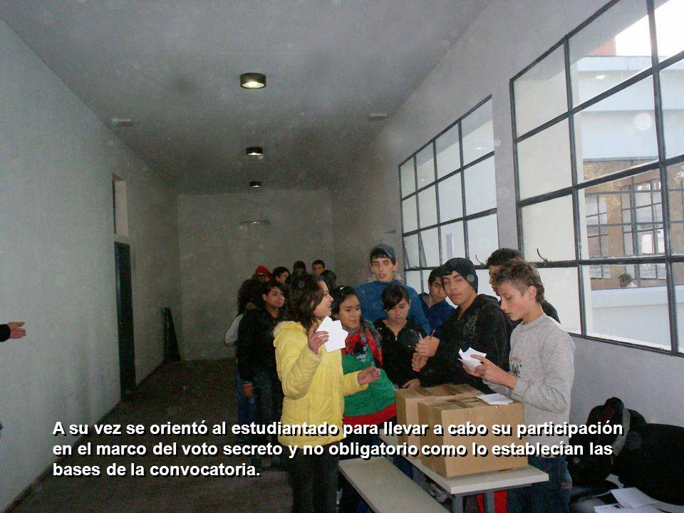 A su vez se orientó al estudiantado para llevar a cabo su participación en el marco del voto secreto y no obligatorio como lo establecían las bases de la convocatoria.