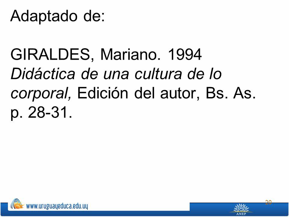 20 Adaptado de: GIRALDES, Mariano. 1994 Didáctica de una cultura de lo corporal, Edición del autor, Bs. As. p. 28-31.