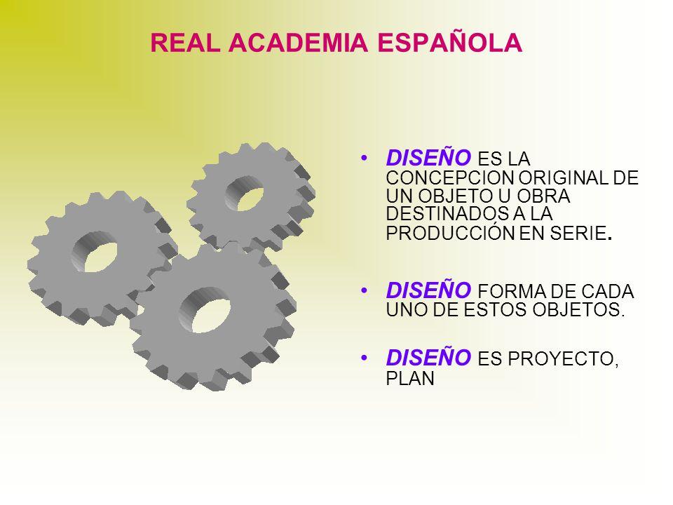 REAL ACADEMIA ESPAÑOLA DISEÑO ES LA CONCEPCION ORIGINAL DE UN OBJETO U OBRA DESTINADOS A LA PRODUCCIÓN EN SERIE.