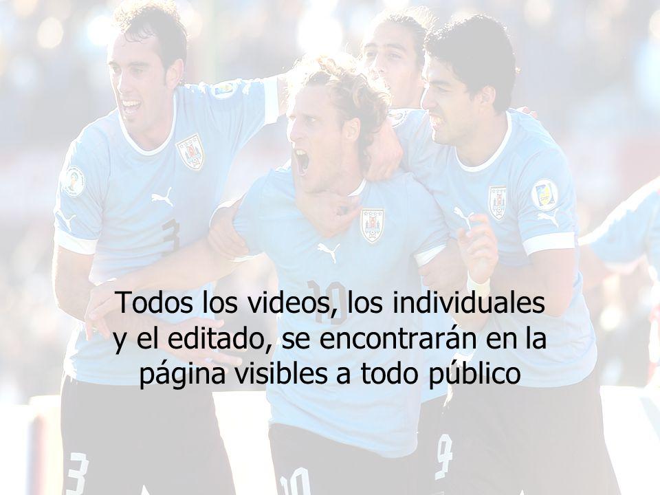 Todos los videos, los individuales y el editado, se encontrarán en la página visibles a todo público