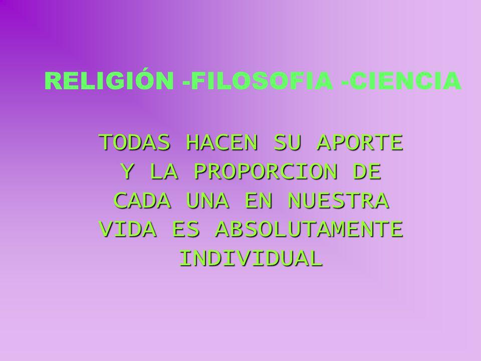 RELIGIÓN -FILOSOFIA -CIENCIA TODAS HACEN SU APORTE Y LA PROPORCION DE CADA UNA EN NUESTRA VIDA ES ABSOLUTAMENTE INDIVIDUAL