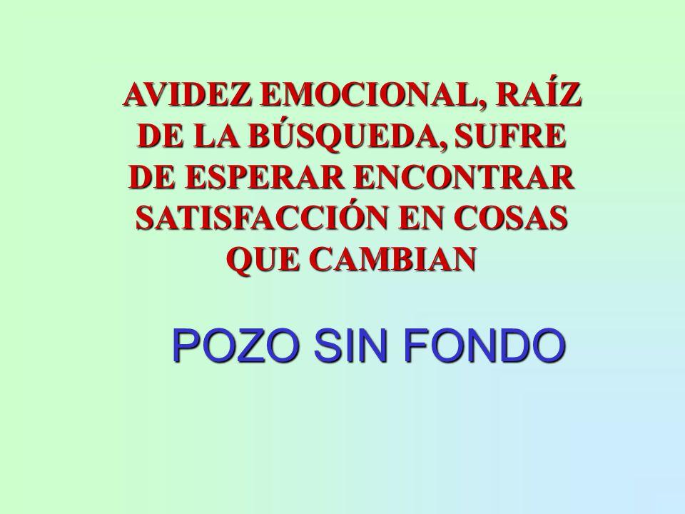 AVIDEZ EMOCIONAL, RAÍZ DE LA BÚSQUEDA, SUFRE DE ESPERAR ENCONTRAR SATISFACCIÓN EN COSAS QUE CAMBIAN POZO SIN FONDO