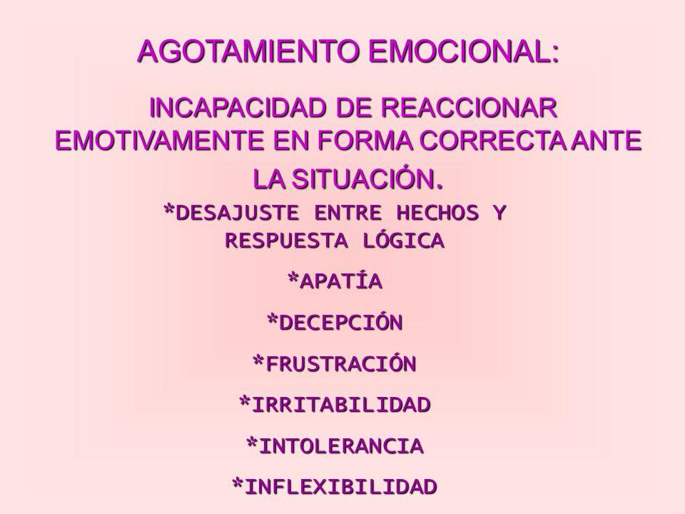 AGOTAMIENTO EMOCIONAL: INCAPACIDAD DE REACCIONAR EMOTIVAMENTE EN FORMA CORRECTA ANTE LA SITUACIÓN. *DESAJUSTE ENTRE HECHOS Y RESPUESTA LÓGICA *APATÍA