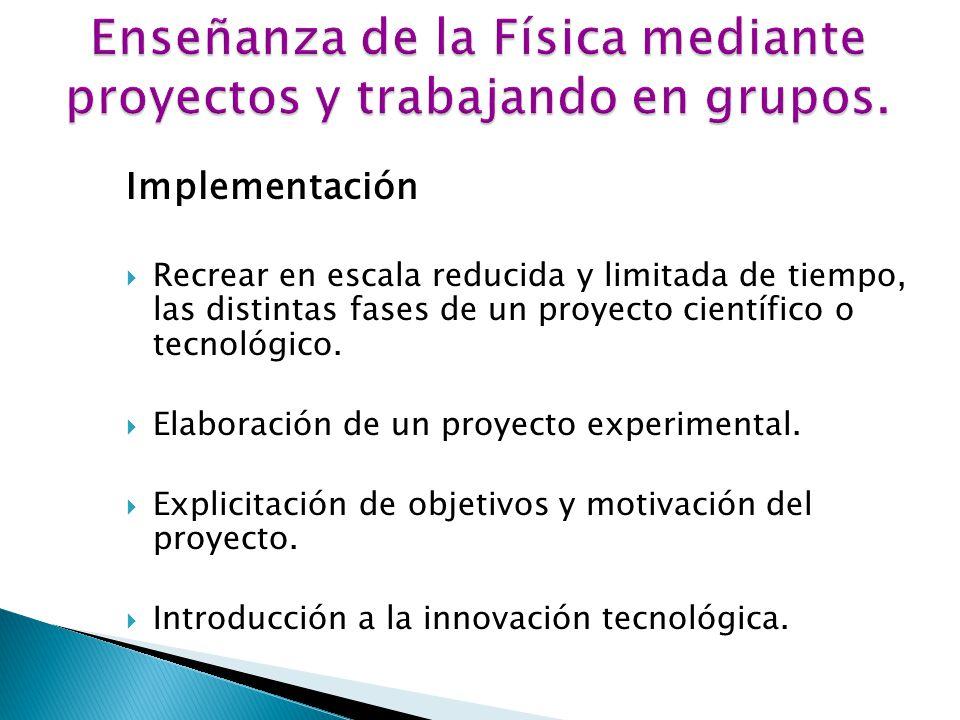 Implementación Recrear en escala reducida y limitada de tiempo, las distintas fases de un proyecto científico o tecnológico.