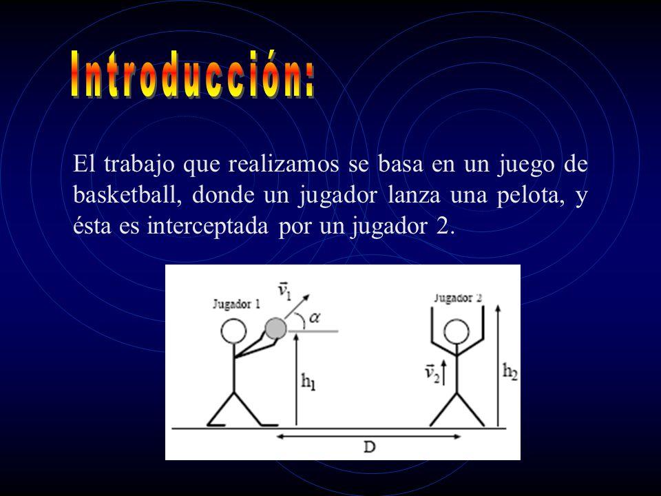 El trabajo que realizamos se basa en un juego de basketball, donde un jugador lanza una pelota, y ésta es interceptada por un jugador 2.
