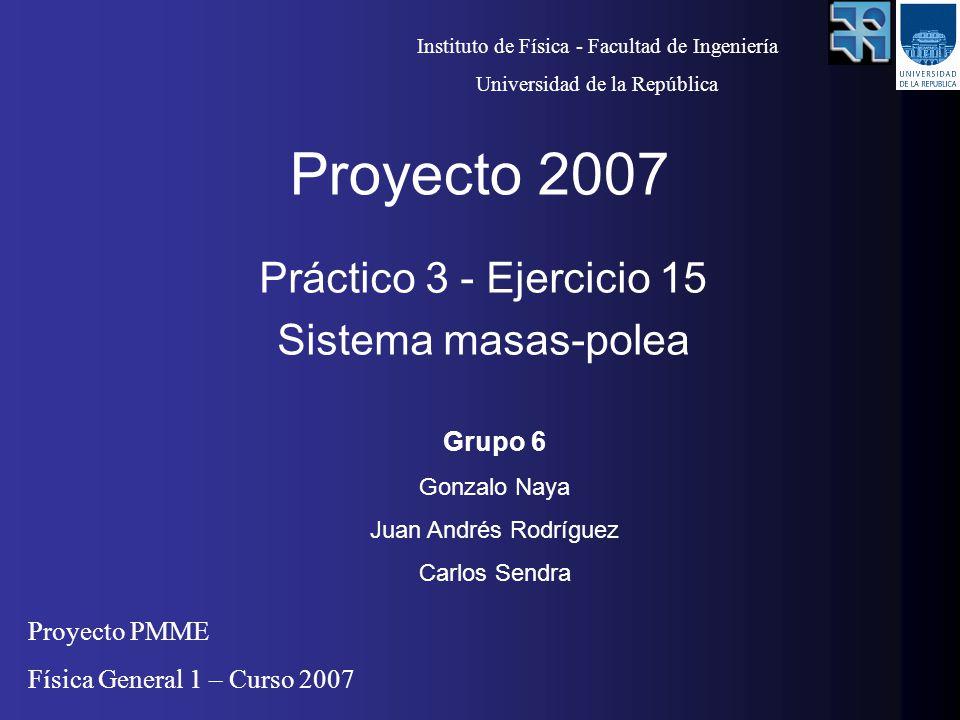 Proyecto 2007 Práctico 3 - Ejercicio 15 Sistema masas-polea Grupo 6 Gonzalo Naya Juan Andrés Rodríguez Carlos Sendra Instituto de Física - Facultad de Ingeniería Universidad de la República Proyecto PMME Física General 1 – Curso 2007
