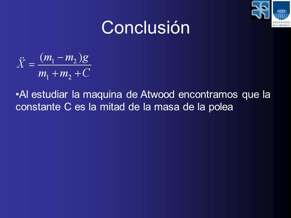 Conclusión Al estudiar la maquina de Atwood encontramos que la constante C es la mitad de la masa de la polea