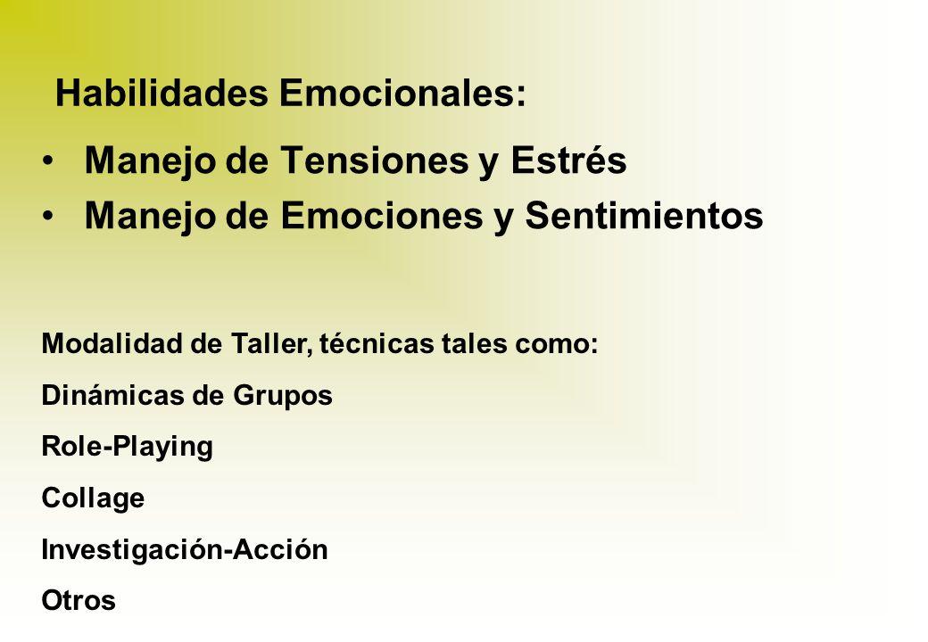 HABILIDADES PARA LA VIDA Habilidades Sociales: Toma de Decisiones Comunicación Asertiva Empatía Habilidades Cognitivas: Pensamiento Creativo Pensamien