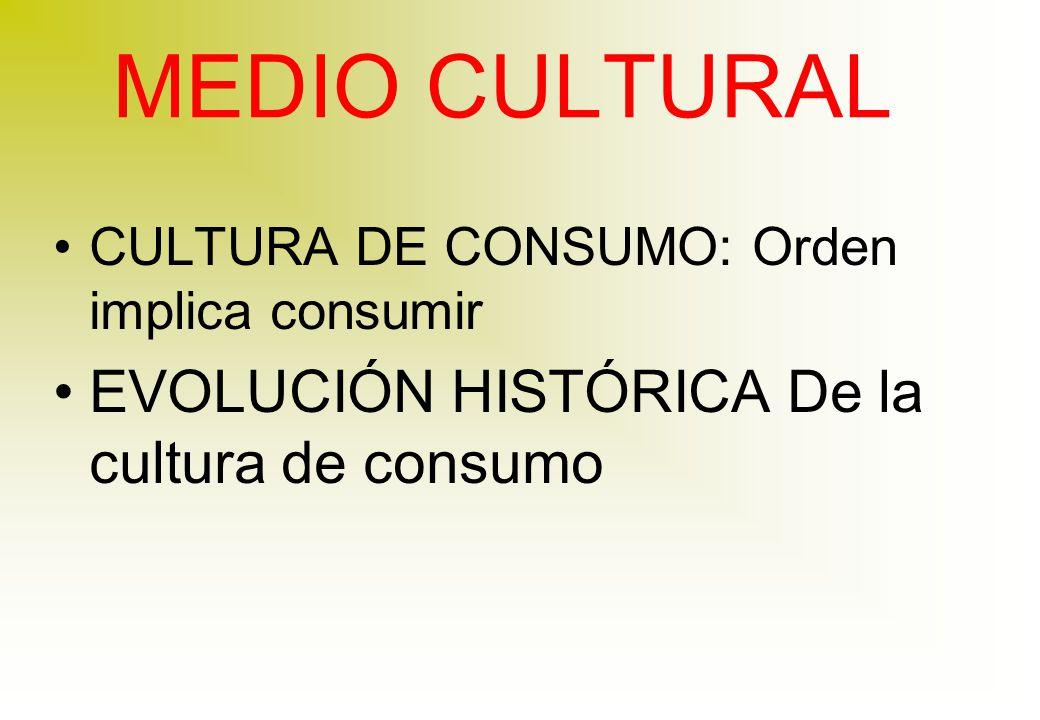 MEDIO CULTURAL CULTURA DE CONSUMO: Orden implica consumir EVOLUCIÓN HISTÓRICA De la cultura de consumo