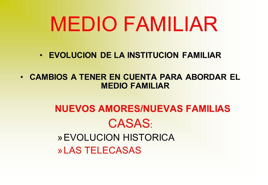 MEDIO FAMILIAR EVOLUCION DE LA INSTITUCION FAMILIAR CAMBIOS A TENER EN CUENTA PARA ABORDAR EL MEDIO FAMILIAR NUEVOS AMORES/NUEVAS FAMILIAS CASAS : »EVOLUCION HISTORICA »LAS TELECASAS