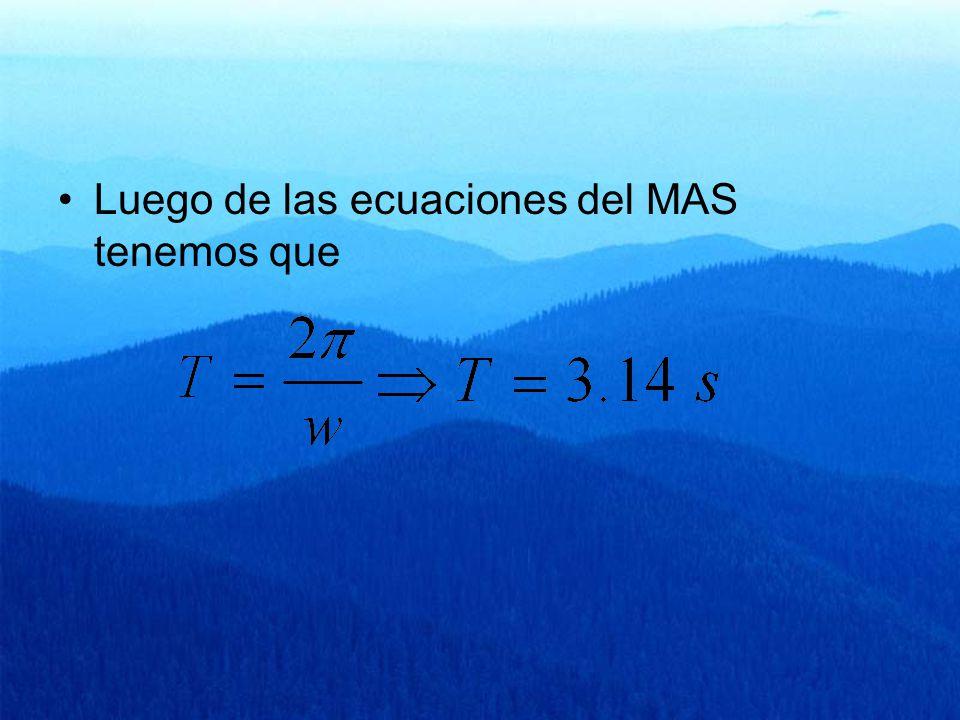 Luego de las ecuaciones del MAS tenemos que