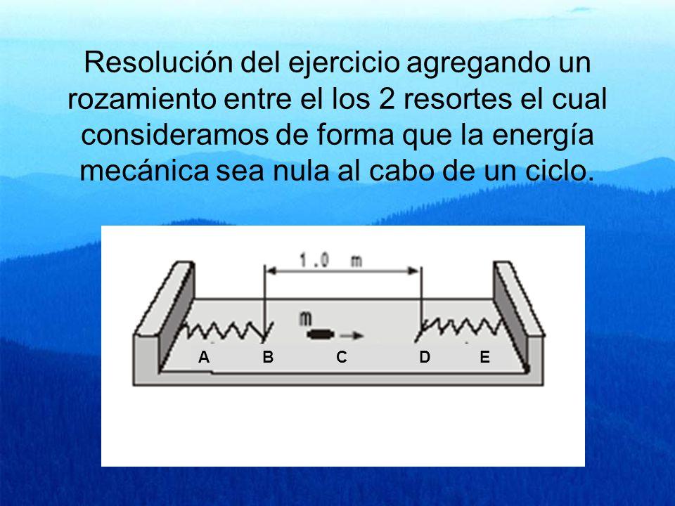 Resolución del ejercicio agregando un rozamiento entre el los 2 resortes el cual consideramos de forma que la energía mecánica sea nula al cabo de un ciclo.