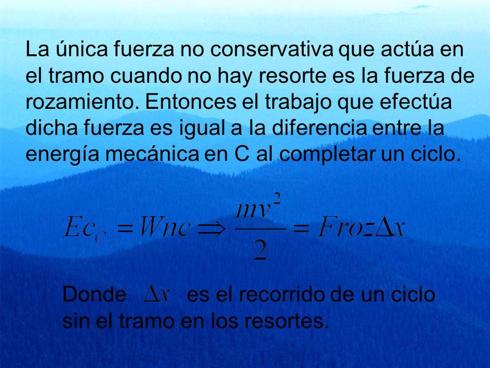 La única fuerza no conservativa que actúa en el tramo cuando no hay resorte es la fuerza de rozamiento.