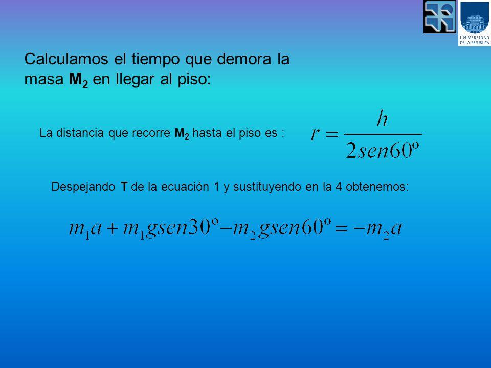 Calculamos el tiempo que demora la masa M 2 en llegar al piso: La distancia que recorre M 2 hasta el piso es : Despejando T de la ecuación 1 y sustituyendo en la 4 obtenemos: