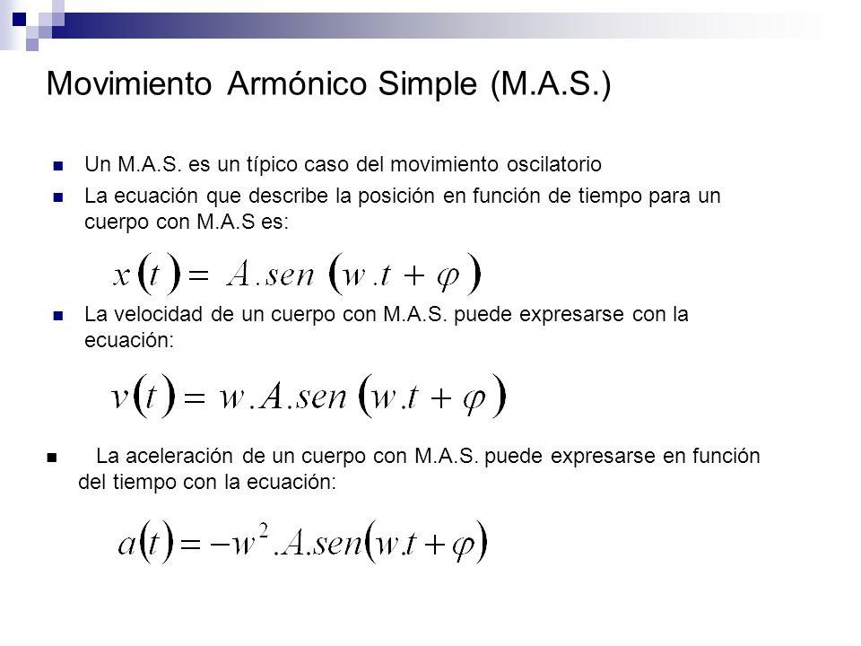 Movimiento Armónico Simple (M.A.S.) Un M.A.S. es un típico caso del movimiento oscilatorio La ecuación que describe la posición en función de tiempo p