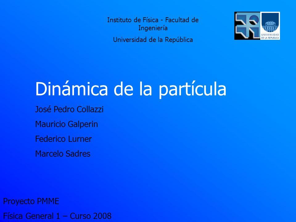 Proyecto PMME Física General 1 – Curso 2008 Dinámica de la partícula José Pedro Collazzi Mauricio Galperin Federico Lurner Marcelo Sadres Instituto de