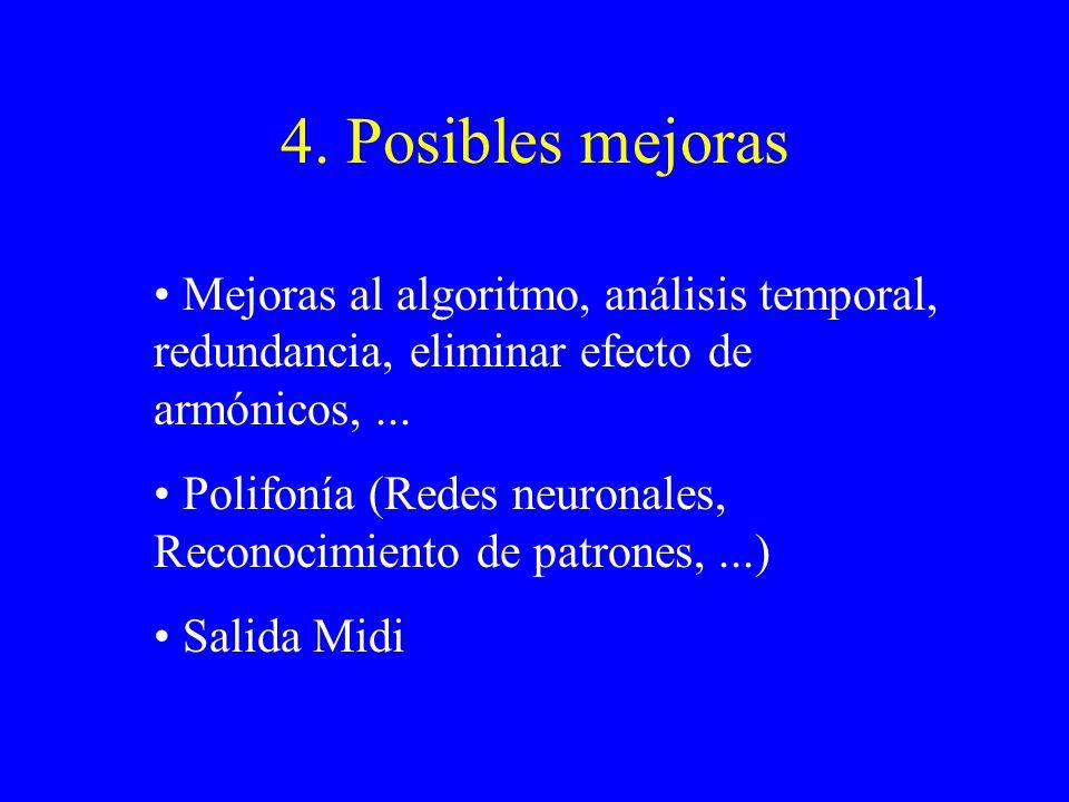 4. Posibles mejoras Mejoras al algoritmo, análisis temporal, redundancia, eliminar efecto de armónicos,... Polifonía (Redes neuronales, Reconocimiento