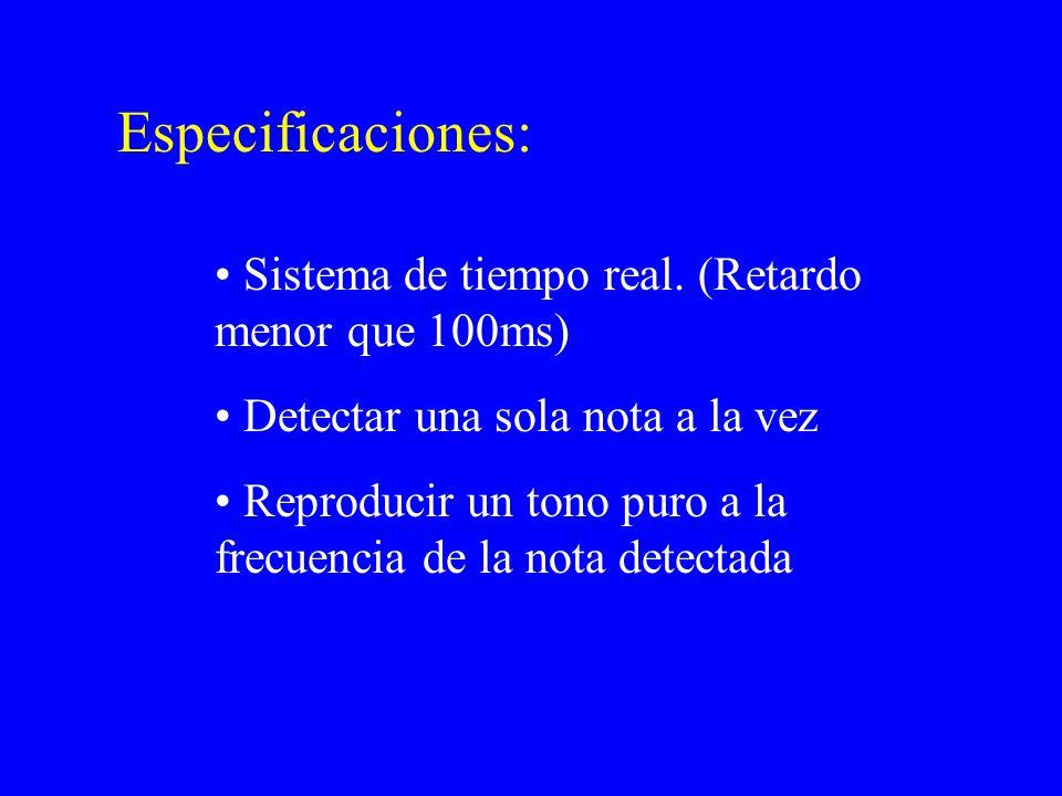 Especificaciones: Sistema de tiempo real.