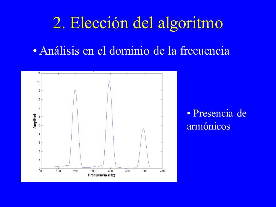2. Elección del algoritmo Análisis en el dominio de la frecuencia Presencia de armónicos
