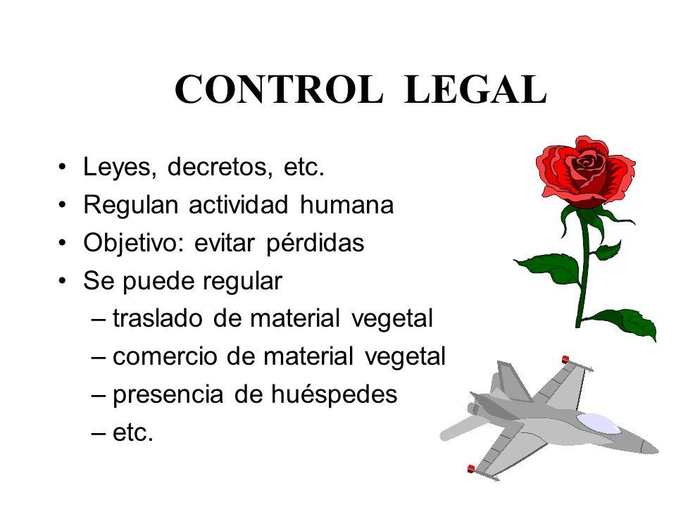 Objetivos del estudio del tema Conocer: qué es control legal cómo se aplica criterios para su uso sus limitantes rol del Agrónomo