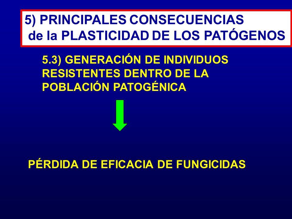 PÉRDIDA DE EFICACIA DE FUNGICIDAS 5) PRINCIPALES CONSECUENCIAS de la PLASTICIDAD DE LOS PATÓGENOS 5.3) GENERACIÓN DE INDIVIDUOS RESISTENTES DENTRO DE
