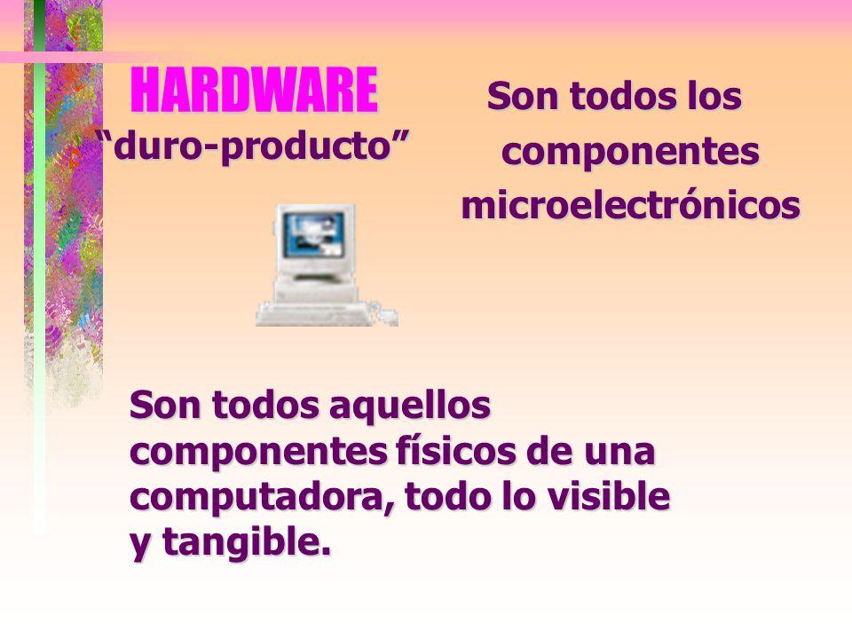 HARDWARE Son todos los componentes microelectrónicos Son todos aquellos componentes físicos de una computadora, todo lo visible y tangible.