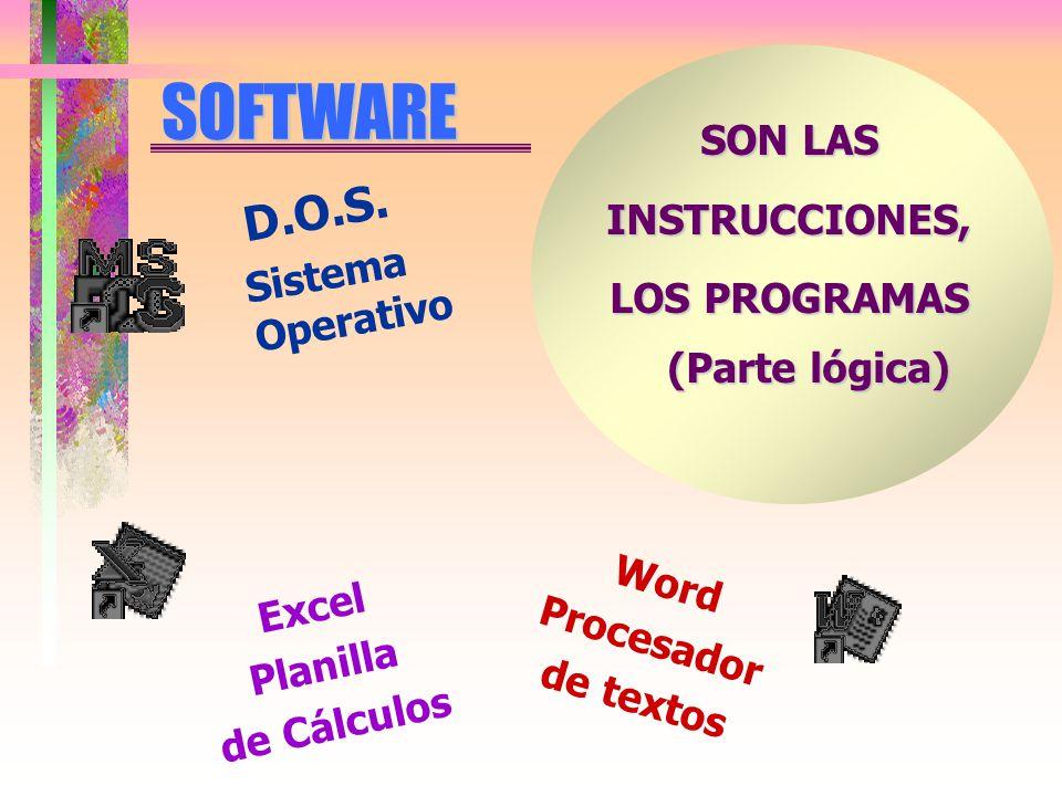 SOFTWARE SON LAS INSTRUCCIONES, LOS PROGRAMAS (Parte lógica) D.O.S.