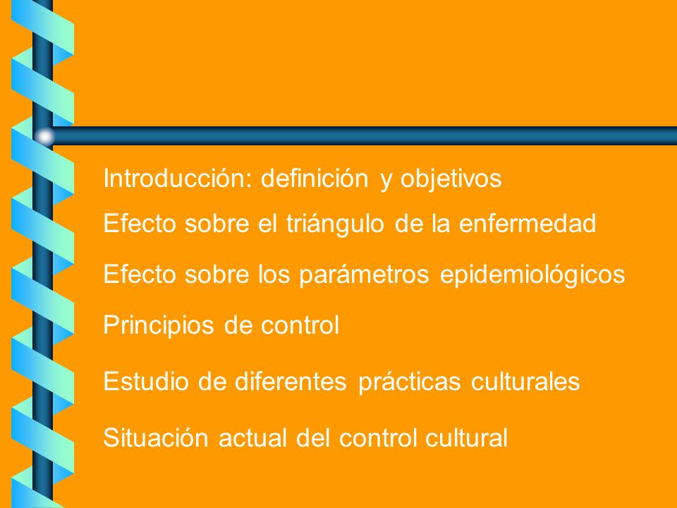 Introducción: definición y objetivos Efecto sobre el triángulo de la enfermedad Efecto sobre los parámetros epidemiológicos Principios de control Estu