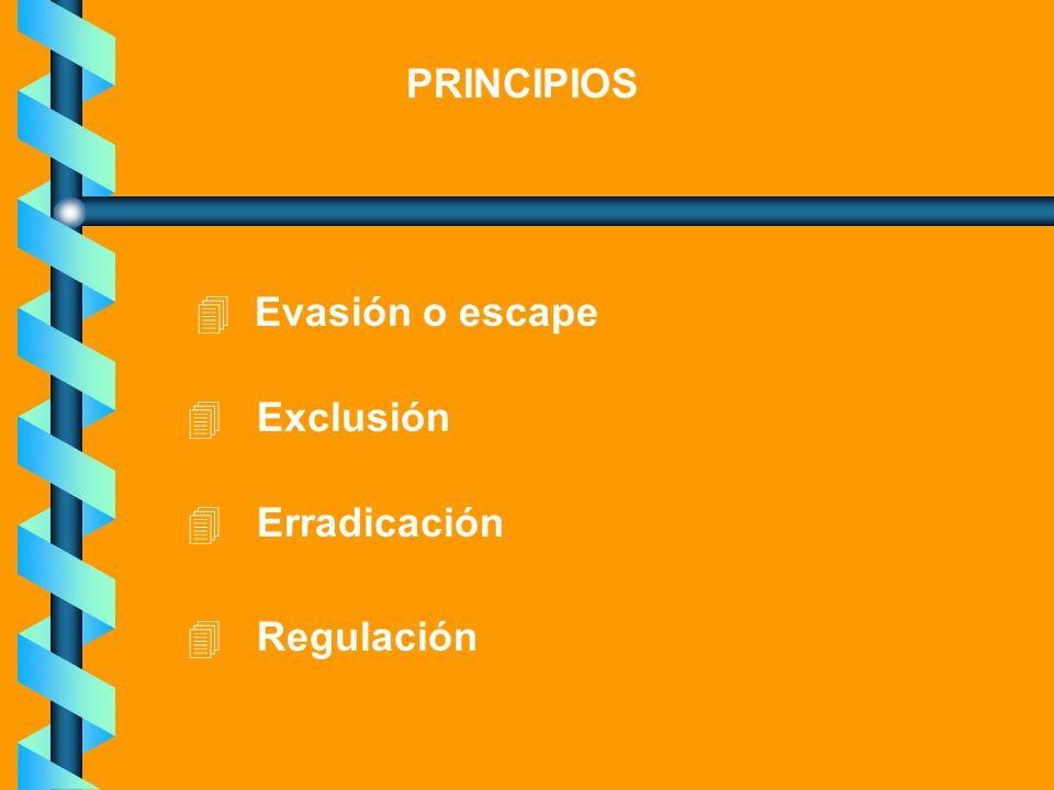 PRINCIPIOS 4 Evasión o escape 4 Exclusión 4 Erradicación 4 Regulación
