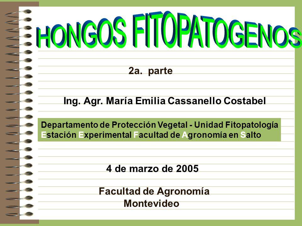 2a. parte Ing. Agr. María Emilia Cassanello Costabel Departamento de Protección Vegetal - Unidad Fitopatología Estación Experimental Facultad de Agron