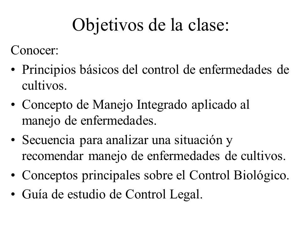 Objetivos de la clase: Conocer: Principios básicos del control de enfermedades de cultivos.