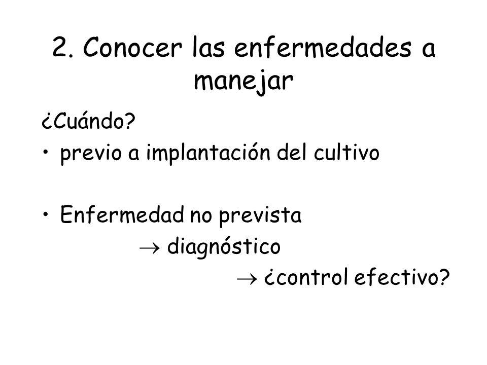 2. Conocer las enfermedades a manejar Con riesgo potencial de causar pérdidas ¿Qué conocer de cada enfermedad? ciclo epidemiología factores predispone