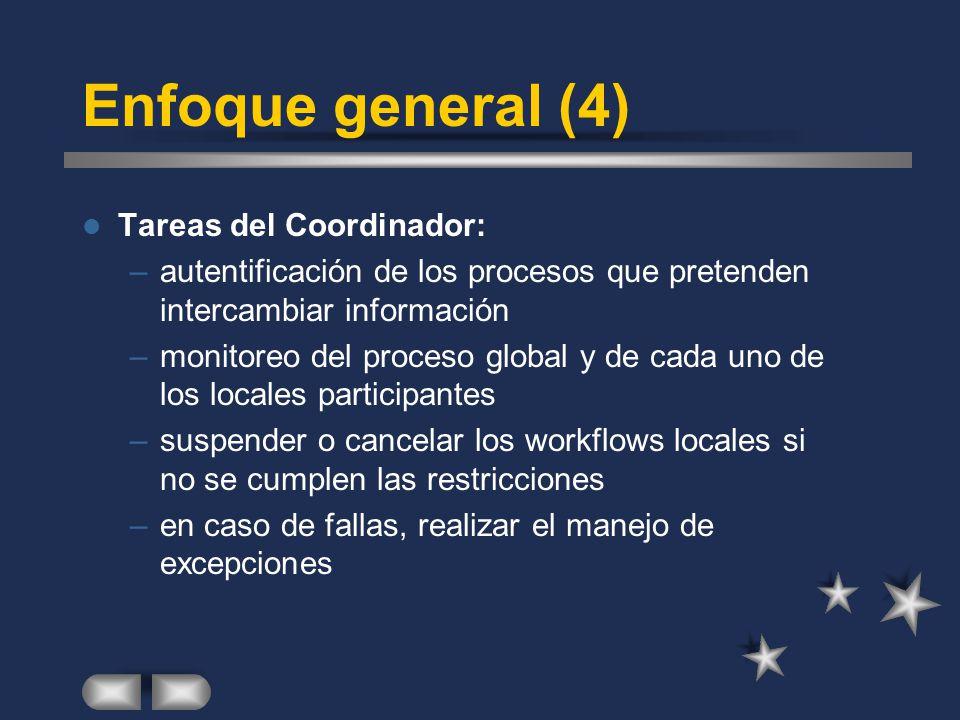 Enfoque general (4) Tareas del Coordinador: –autentificación de los procesos que pretenden intercambiar información –monitoreo del proceso global y de